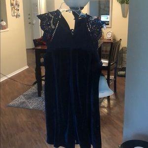 Navy Velvet Dress with Crochet Detail - S